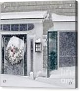 Door And Window Of Cape Cod Home During Blizzard Of '05 Acrylic Print
