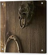 Door Knocker Of The Basilica Saint-julien. Brioude. Haute Loire. Auvergne. France. Acrylic Print