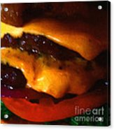 Double Cheeseburger With Bacon - Square - Painterly Acrylic Print by Wingsdomain Art and Photography