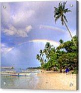 Double Rainbow At The Beach Acrylic Print by Yhun Suarez