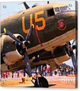 Douglas C47 Skytrain Military Aircraft . Painterly Style . 7d15774 Acrylic Print by Wingsdomain Art and Photography