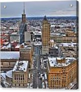 Downtown Court St Winter Scene Acrylic Print