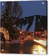 Downtown Jackson Hole At Night Acrylic Print