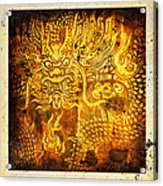 Dragon Painting On Old Paper Acrylic Print