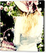 Dreamy Cottage Chic Girl Holding Basket Roses Acrylic Print by Kathy Fornal