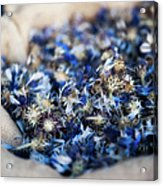 Dried Blue Flowers In Burlap Bag Acrylic Print by Alexandre Fundone