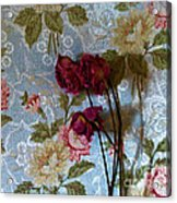 Dried Roses Against The Wallpaper Acrylic Print