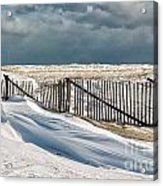 Drifting Snow Along The Beach Fences At Nauset Beach In Orleans  Acrylic Print