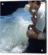 Drinking From A Stream Acrylic Print by Alan Sirulnikoff