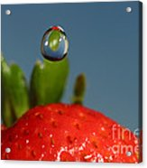 Droplet Falling On A Strawberry Acrylic Print