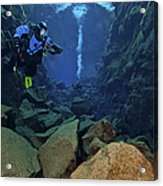 Dry Suit Divers In Gin Clear Waters Acrylic Print