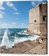 Dubrovnik Fortification And Pier Acrylic Print