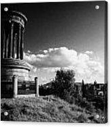 Dugald Stewart Monument Calton Hill With View Of Edinburgh Skyline Scotland Uk United Kingdom Acrylic Print
