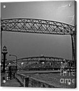 Duluth Lift Bridge Under Lightning Acrylic Print
