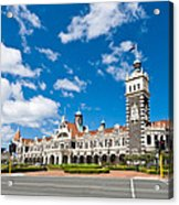 Dunedin Railway Station During A Sunny Day  Acrylic Print