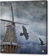 Dutch Windmill With Ravens Acrylic Print