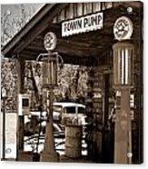 Early Gas Station Acrylic Print by Douglas Barnett