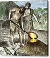 Early Humans Smelting Bronze Acrylic Print by Sheila Terry
