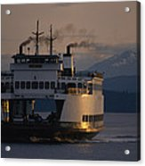Early Morning Ferry Leaves Seattle Acrylic Print