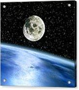 Earth And Moon Acrylic Print by Julian Baum