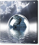 Earth Globe Reflection Acrylic Print