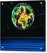 Earth Over Computer Keyboard Acrylic Print