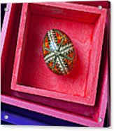 Easter Egg In Pink Box Acrylic Print