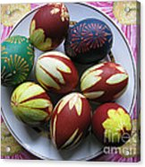 Easter Eggs. Plant Print And Wax Drawing. Acrylic Print