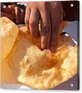 Eating By Hand The Indian Delicacy Of Chole Bhature Acrylic Print