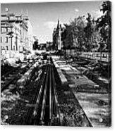 Edinburghs New Tram System Under Construction In St Andrews Square Scotland Uk United Kingdom Acrylic Print