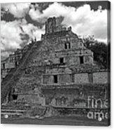 Edzna Pyramid Climber Campeche Mexico Acrylic Print