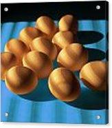 Eggs On Blue Lit Through Venetian Blinds Acrylic Print