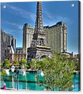 Eiffel Tower And Reflecting Pond Acrylic Print