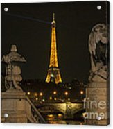 Eiffel Tower And The Seine River From Pont Alexandre At Night Acrylic Print