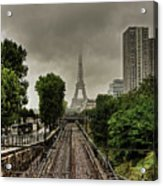 Eiffel Tower In Clouds Acrylic Print