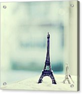 Eiffel Tower Still Life With Blurry Blue Backgroun Acrylic Print