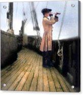 Eighteenth Century Man With Spyglass On Ship Acrylic Print