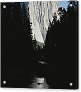 El Capitan Soars Above The Merced River Acrylic Print by Marc Moritsch