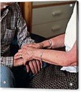 Elderly Couple Holding Hands Acrylic Print
