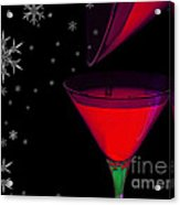 Electric Red Cocktail With Snowflakes Acrylic Print