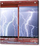 Electric Skies Red Barn Picture Window Frame Photo Art  Acrylic Print