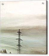 Electricity Pylon In Fog Acrylic Print by Duncan Shaw