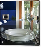 Elegant Place Setting In A Dining Room Acrylic Print by Marlene Ford