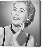 Elegant Woman Posing In Studio, (b&w), Portrait Acrylic Print