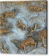 Elk And Bobcat In Winter Acrylic Print by Dawn Senior-Trask