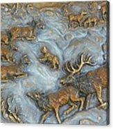 Elk And Bobcat In Winter Acrylic Print