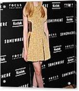 Elle Fanning Wearing A Rodarte Dress Acrylic Print by Everett