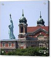 Ellis Island And Statue Of Liberty Acrylic Print
