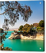 Emerald Lake With Duke House. El Chorro. Spain Acrylic Print