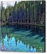 Emerald Mountain Pond Acrylic Print